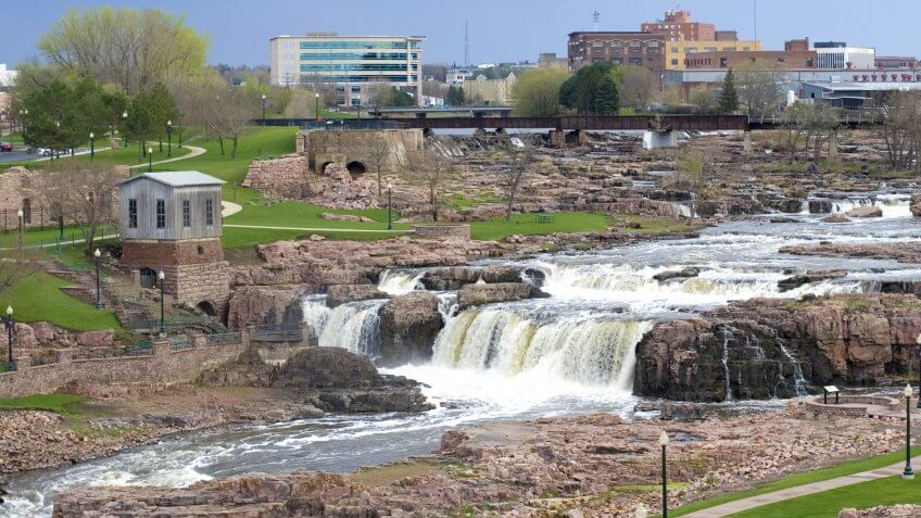 View of Falls Park and metro area in background.