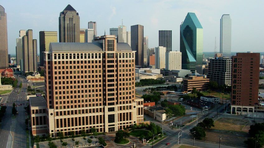 Afternoon shot of downtown Dallas from high perspective.