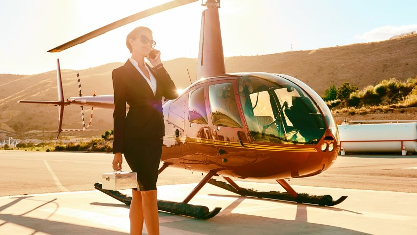 woman, helicopter, rich concept