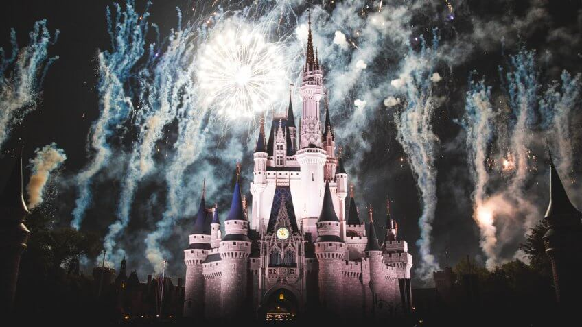 Fireworks lit up around Cinderella Castle at Walt Disney World