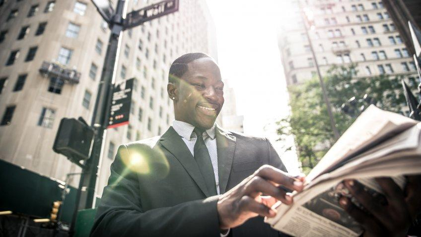 Stock, shares, NASDAQ, S&P 500, money, Business man portrait.