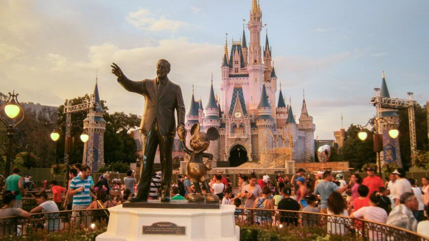 Statue of Walt Disney and Mickey Mouse in front of Cinderella Castle at Walt Disney World