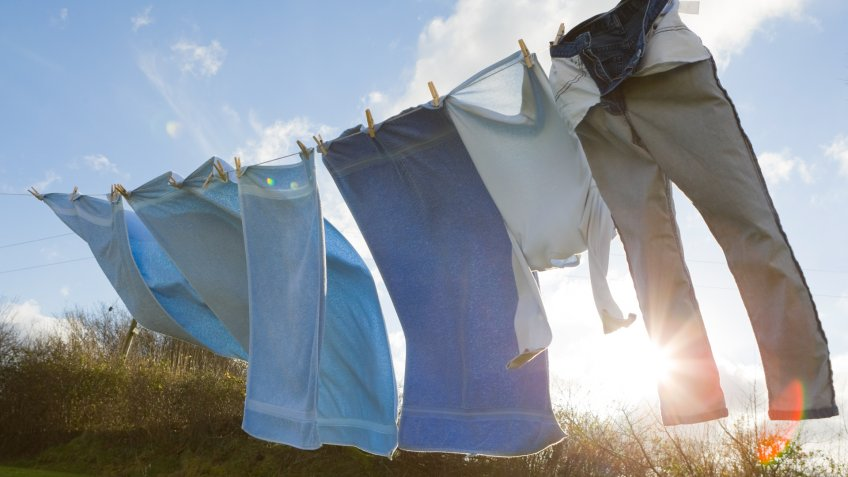 Blue towels and clothes