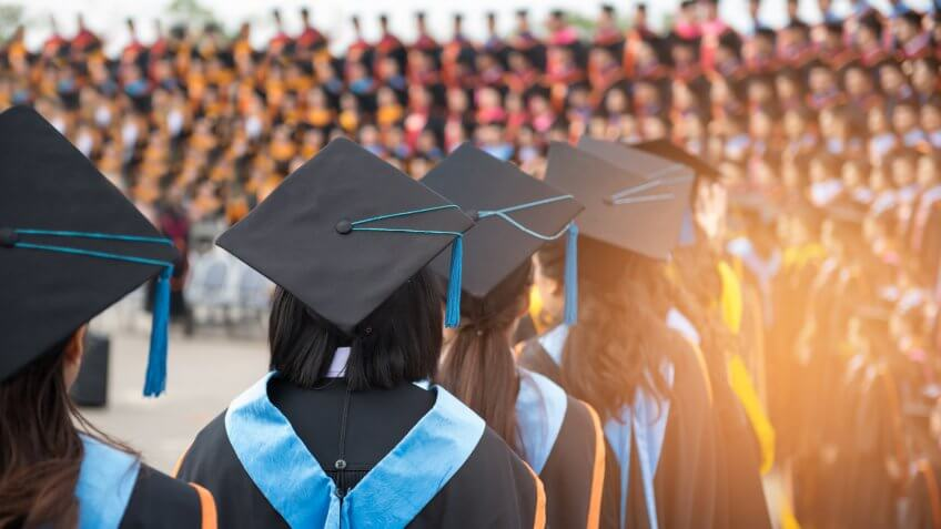 Graduates wear graduation gowns,Ceremonies of university graduates.