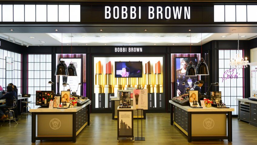 Storefront of Bobbi Brown cosmetics store