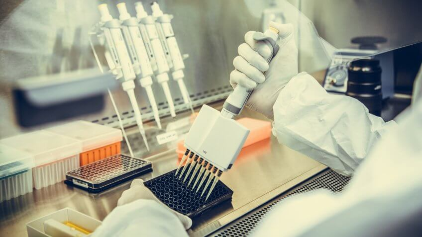 Stock, shares, NASDAQ, S&P 500, money, Scientists works with cell cultures under sterile hood.