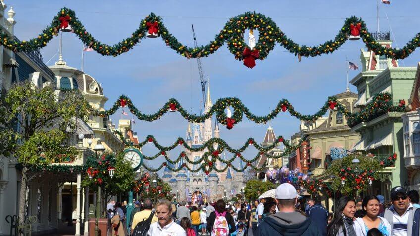 Christmas decorations at Walt Disney World