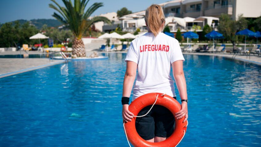 female lifeguard on duty