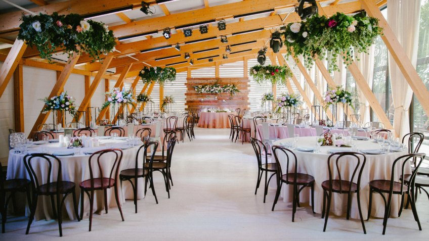 Wedding reception in wooden style.