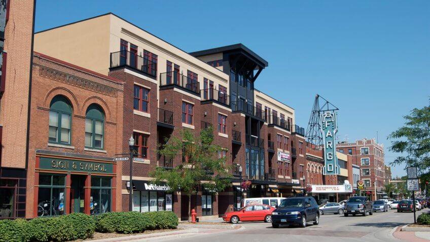 Fargo, North Dakota , USA - July 27,2010: It's a beautiful summer day in the city of Fargo.