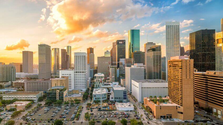 Houston Texas sunset skyline