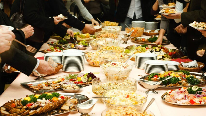 Catering table full of food