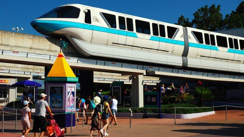 Monorail passing through Walt Disney World