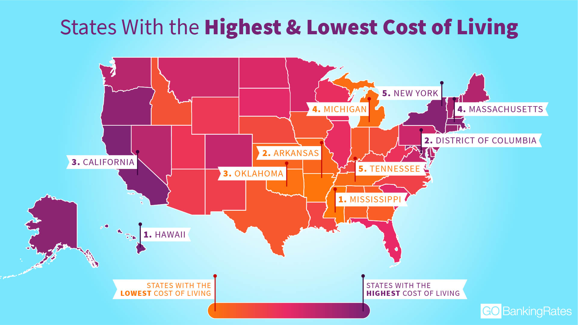 Study Finds Cost Of Living Is Going Up And Down In These States - Cost-of-living-us-map
