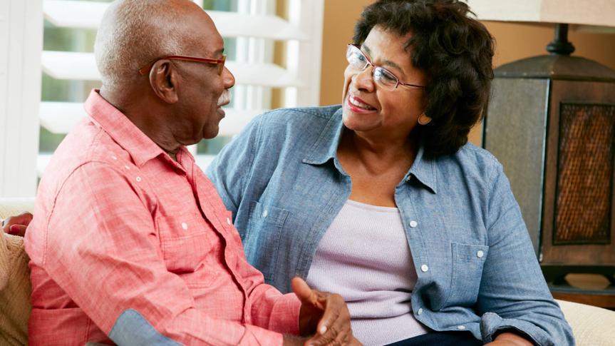 Senior couple having a discussion