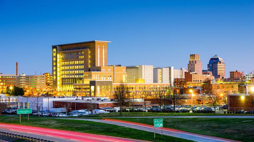 Durham North Carolina skyline at dusk