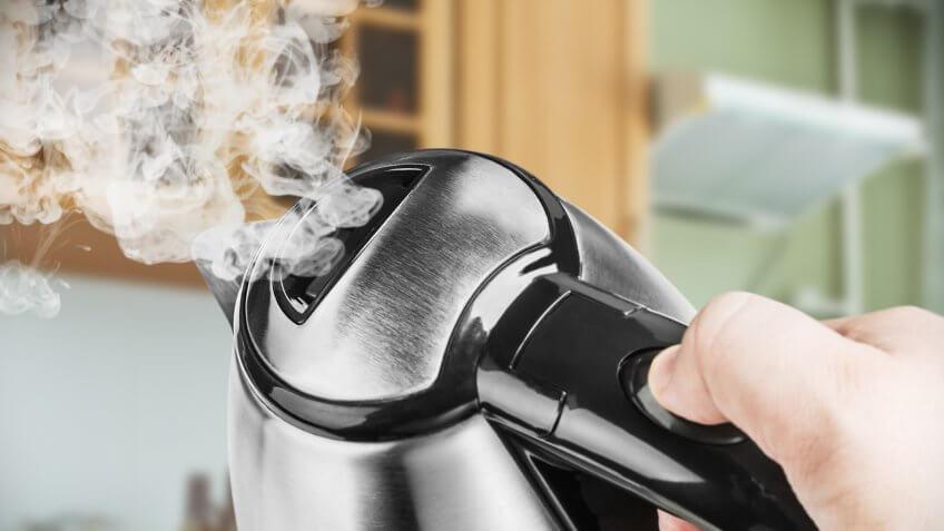Tea kettle releasing steam