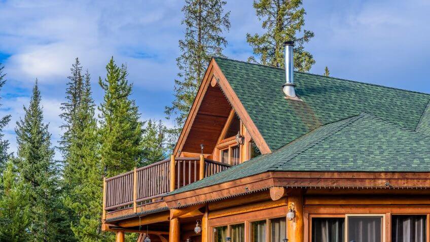 log cabin with nice window