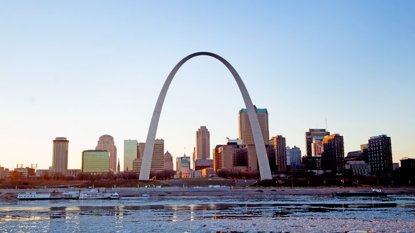 A view of The Gateway Arch and St.