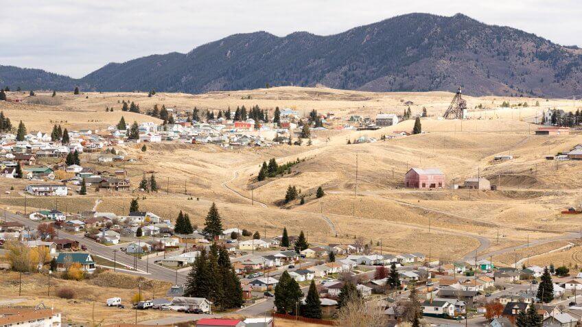 High Angle Overlook Walkerville Montana Downtown USA