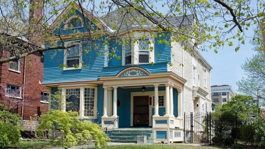 Blue & White Victorian House