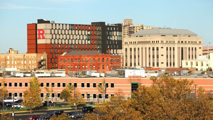 Camden, New Jersey, USA - October 31, 2016: Daytime view of the 330 Cooper residence hall and adjacent buildings on the Rutgers University Camden campus.
