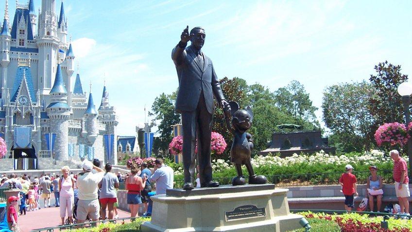 Walt Disney and Mickey Mouse statue at Walt Disney World