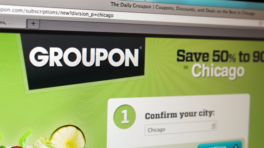 Groupon homepage on Internet browser