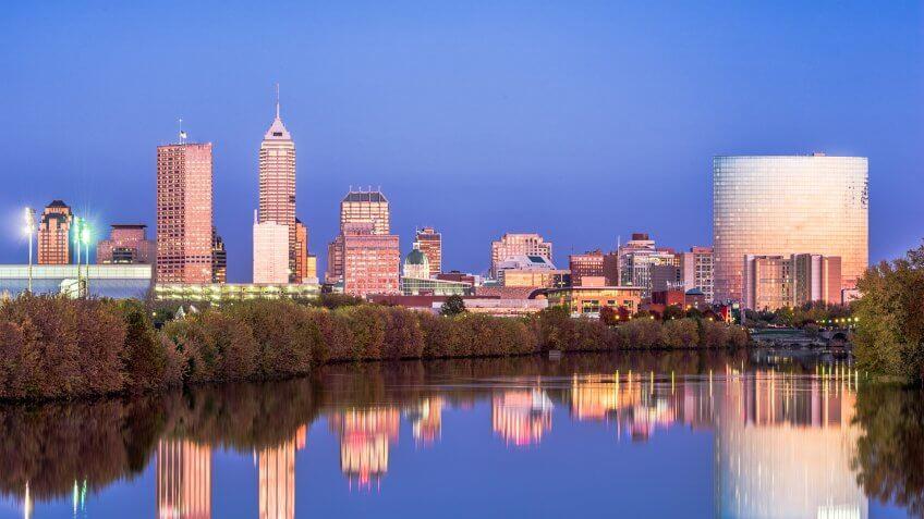 Indianapolis Indiana skyline at dusk