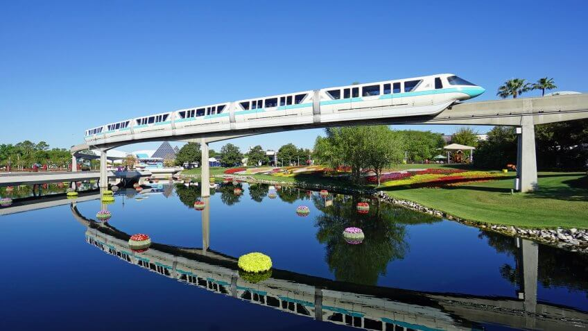 Monorail tram passing through Walt Disney World