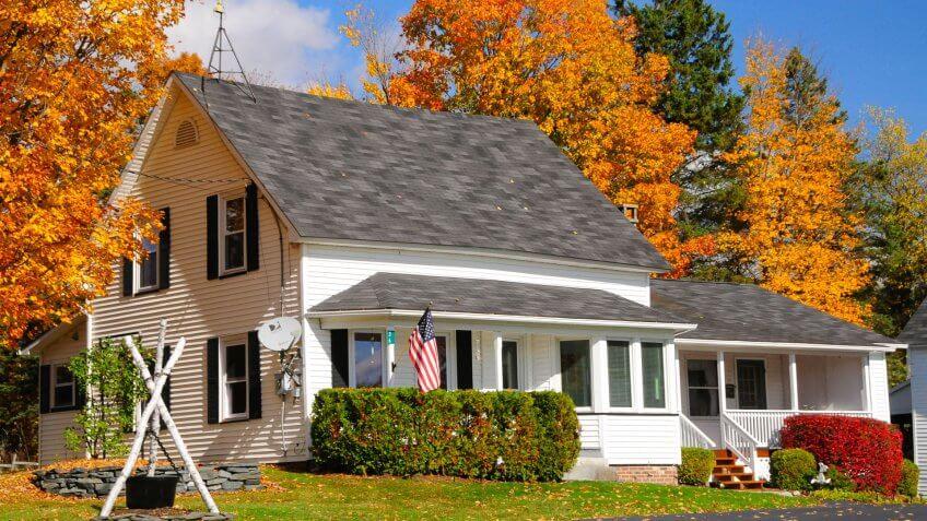 Vermont white wooden house