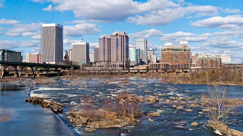 Downtown Richmond, Virginia On A Sunny Winter Day.