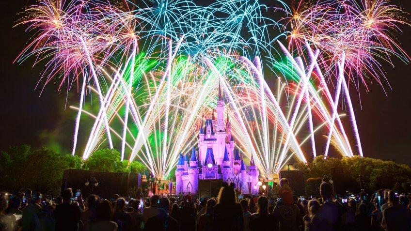 Fireworks lit up above Cinderella Castle in Magic Kingdom at Walt Disney World