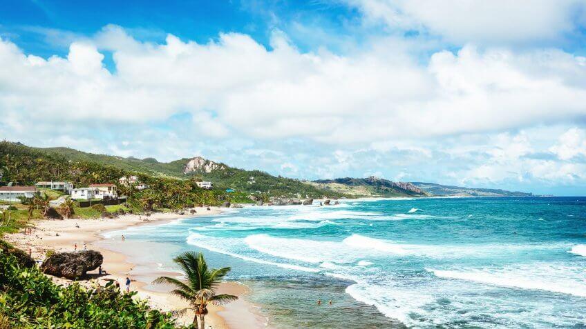 Beach at Soup Bowl in Bathsheba, Barbados.