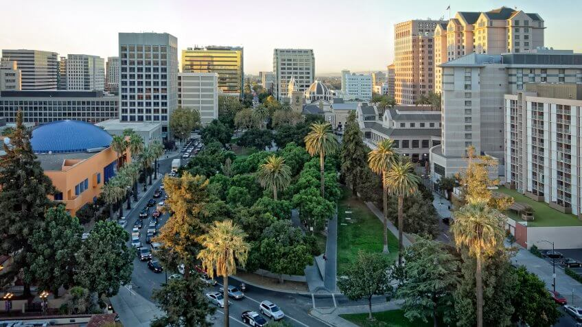 An aerial and panoramic view of the historic Plaza de Cesar Chavez in San Jose, CA.