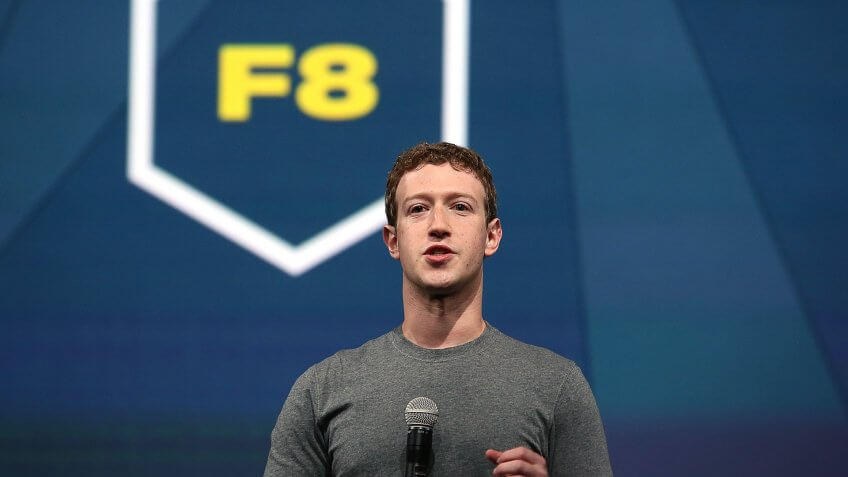 Facebook CEO Mark Zuckerberg delivers the opening keynote at the Facebook f8