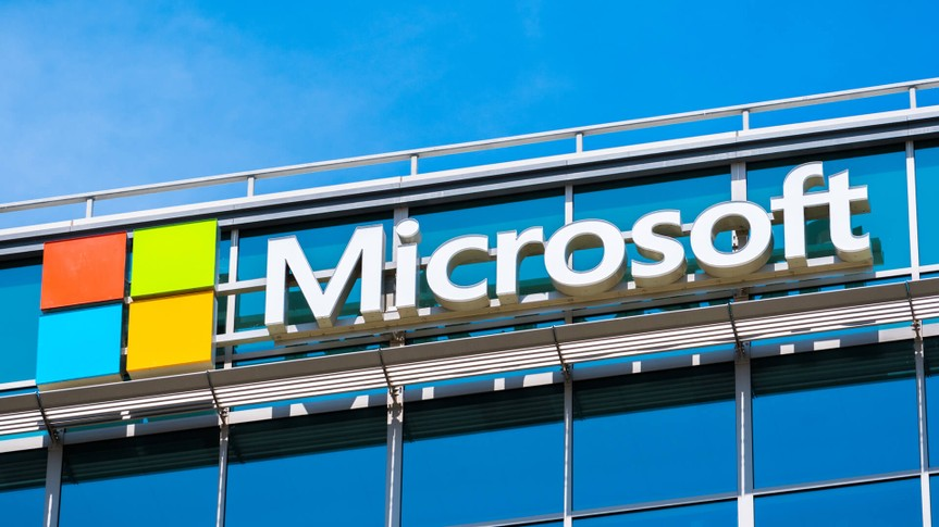 May 3, 2018 Sunnyvale, CA, USA - Microsoft logo at the company's office building located in Silicon Valley, south San Francisco bay area