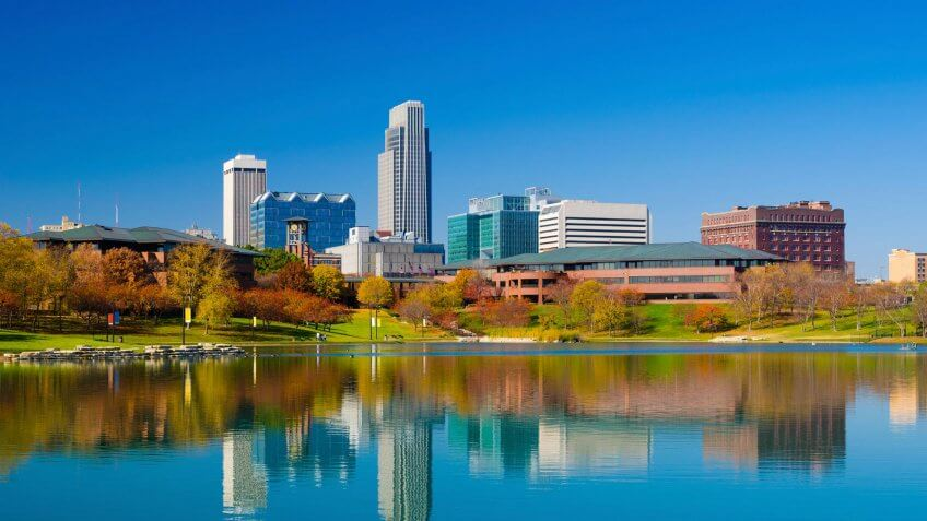 Omaha, Nebraska, Urban Skyline, City, Midwest USA.