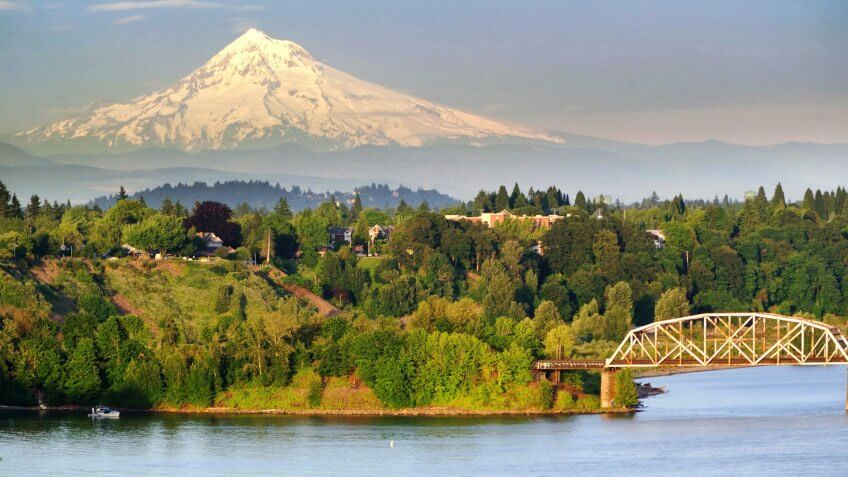 Portland Steel Bridge and Mt hood, Oregon.