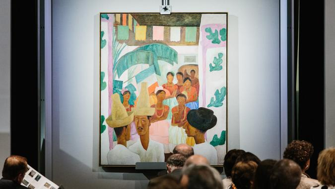 The painting 'The Rivals' by artist Diego Rivera is displayed during the sales event of The Collection of Peggy and David Rockefeller at Christie's auction house in New York, New York, USA, 09 May 2018.