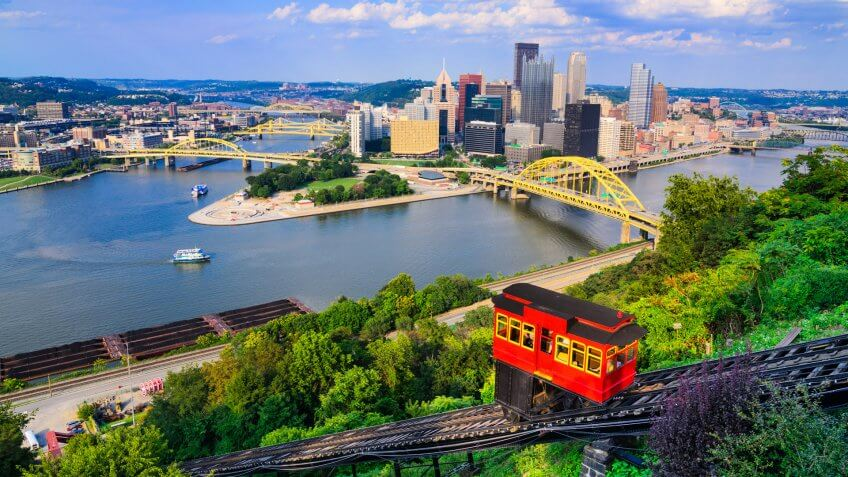 Pittsburgh, Pennsylvania, USA downtown skyline and incline.