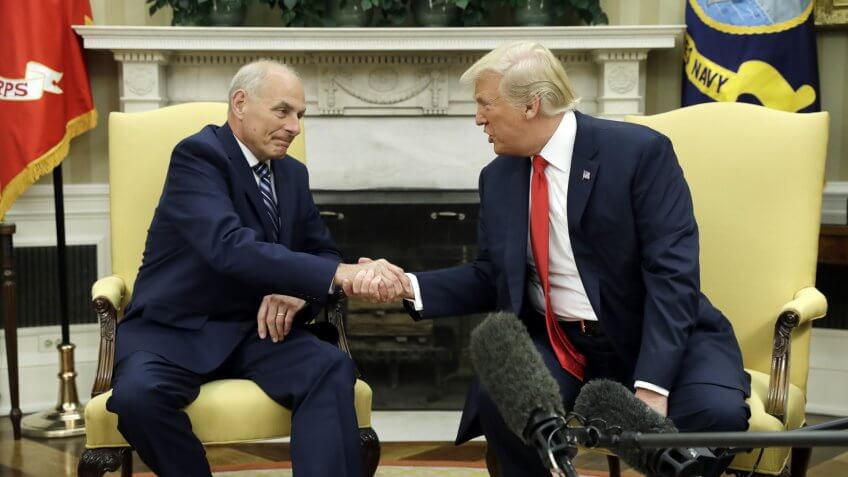 New White House Chief of Staff John Kelly shakes hands with President Donald Trump after being privately sworn in during a ceremony in the Oval Office, in WashingtonTrump, Washington, USA - 31 Jul 2017.