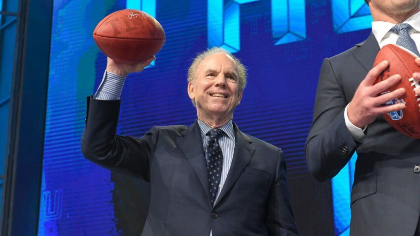 Former Dallas Cowboy quarterback Roger Staubach poses before the first round of the NFL Draft at AT&T Stadium in Arlington, TX Albert Pena/CSMNFL NFL Draft, Arlington, USA - 25 Apr 2018.