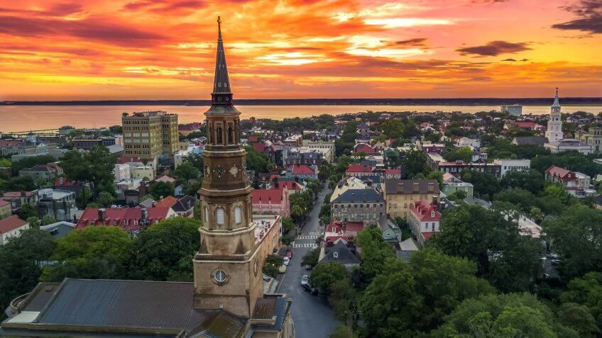 Charleston from the air - church steeple South Carolina.