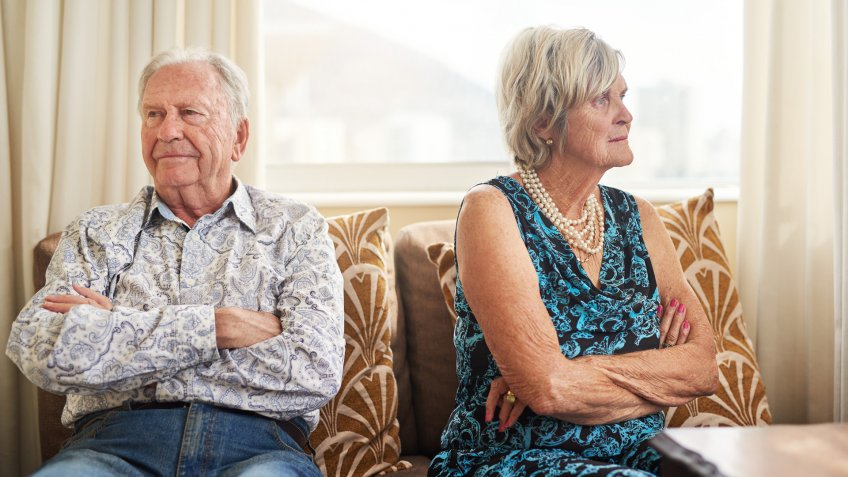Shot of a senior couple having an argument at home.