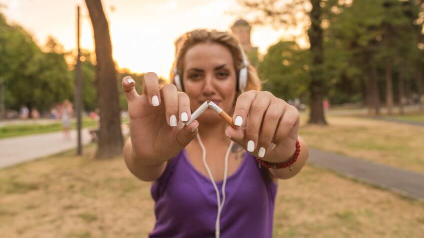 Gesture for quit smoking, Anti Smoking.