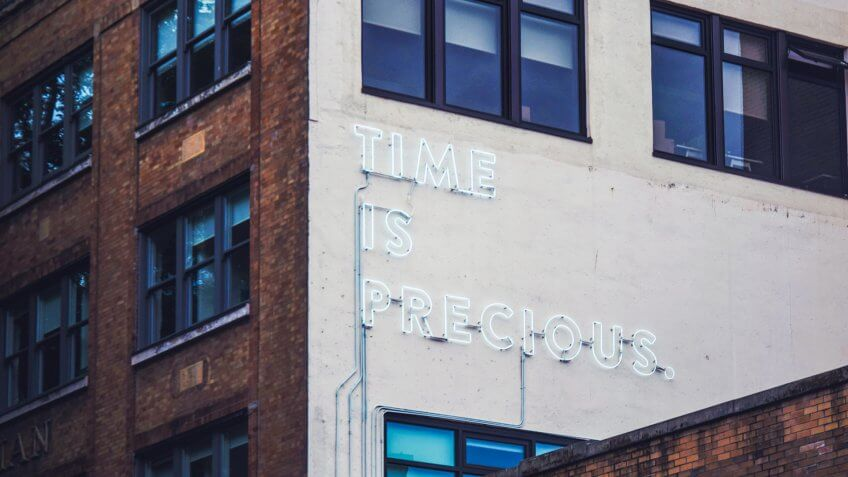 Building, neon sign, time