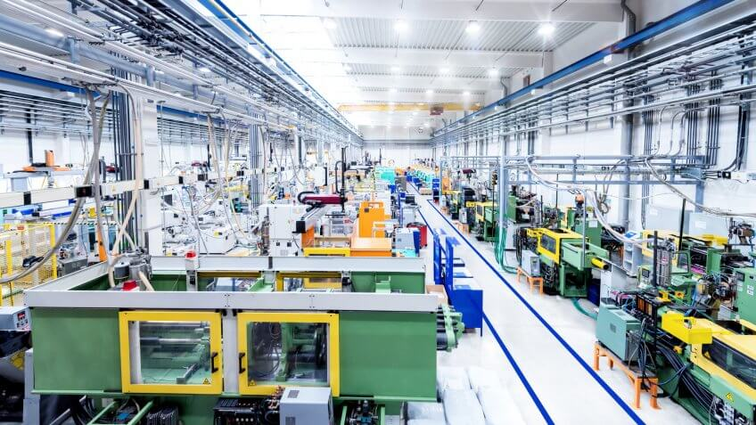 Horizontal color image of futuristic factory.