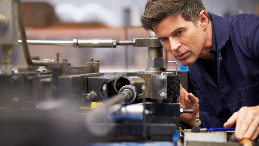 Man working on machinery