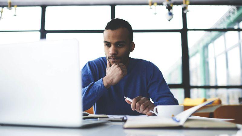 MAN, Office, desk, laptop